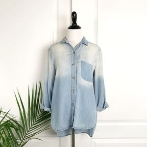 Anthropologie Rolled Sleeve Chambray Shirt